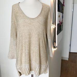 Anthropologie Moth tan mid sleeve linen sweater M